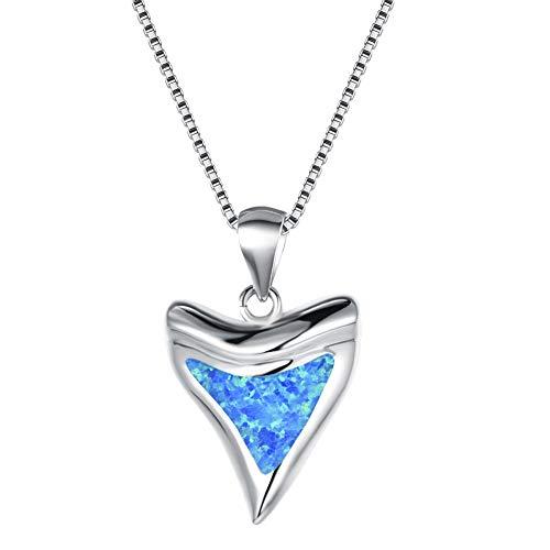 Yazilind Pentagram Star Blue Opal Anhänger Halskette Platin plattiert Kette Schmuck Geschenk für Frauen Freundin Frau Tochter