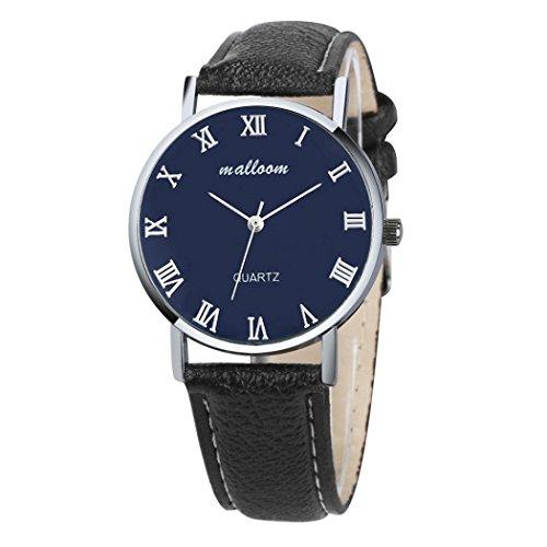 Herrenuhren Mens Watches,Kingwo Mode Männer und Frauen Luxus Faux Leder Quarz Analog Uhrenarmband Armbanduhr (A)