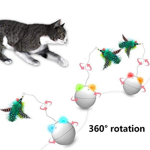 Hete-supply Wicked Ball - Palla Attiva Automatica, Giocattolo per Animali Domestici, Robot per Gatti, Giocattolo interattivo con LED Lampeggiante Automatico Divertente per Gatti, Badminton