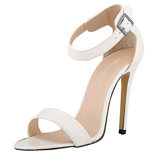 Oasap Femme Chaussure A Talons Hauts Crocodile Talons Aiguilles Bride Cheville Blanc