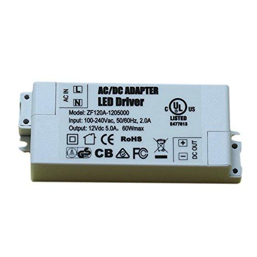 ADOGO LED Trafo 12V DC 60W Transformator Netzteil Überlastungsschutz Treiber für G4 MR11 MR16 Lampe Licht [Energieklasse A+] (Dc-led-treiber)