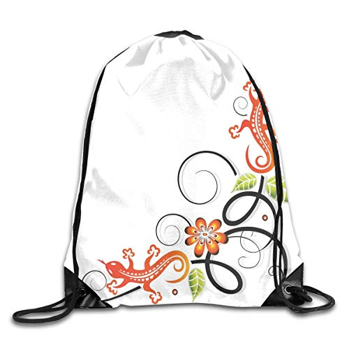 Drawstring Backpacks Bags Daypacks,Small Baby Lizard Flowers and Leaves with Oriental Lines Print,5 Liter Capacity Adjustable for Sport Gym Traveling -