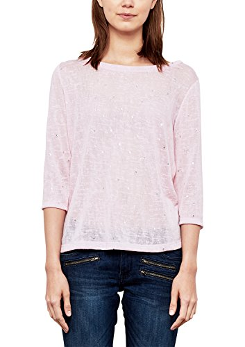 Q/S Designed by Damen Shirt mit Metallic-Muster Vintage Rose AOP XL (Rose Metallic-t-shirt)