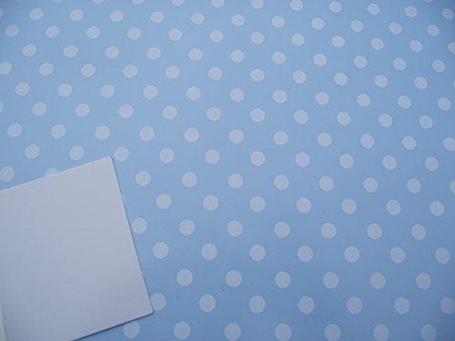 2Blatt of Pale Blau Polka Dot-Spots mit blauem Hintergrund Geschenkpapier und 1Geschenkanhänger