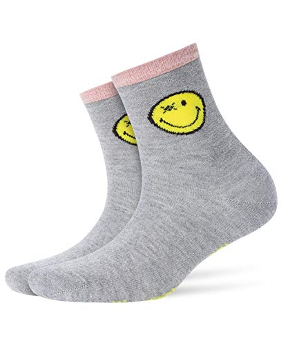 Burlington Damen Smiley Socken, Blickdicht, Mehrfarbig (Fume 3355), 36/41 (One Size)
