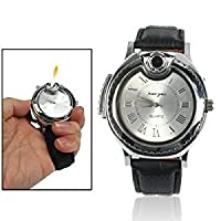 Fashion Watches Wrist Watch Style Refill Butane Cigarette Lighter Jet Flame Torch for Cigarette with Leather Band