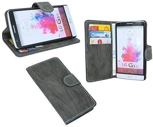LG G3 S D722 // Buchtasche Hülle Case Tasche Wallet BookStyle mit STANDFUNKTION Anthrazit @ Energmix