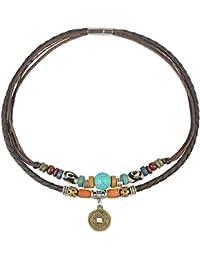31aa42463298 Antiguo de la mujer de la Tribu de cáñamo Piel Auténtica Turquesa Collar De  Gargantilla De