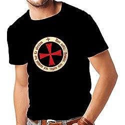lepni.me Camisetas Hombre El Orden templario de los Caballeros Cristianos (Large Negro