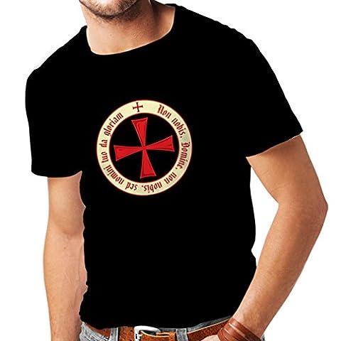 T-shirt pour hommes Chevalière Croix Rouge les templiers (Medium Noir Multicolore)