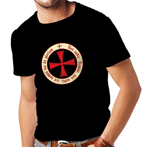 Männer T-Shirt Tempelritter Templer Orden T-Shirt (Knights Templar) für Herren mit Tatzenkreuz Ordo Red (Small Schwarz (Kostüme Dunkle Winkel)