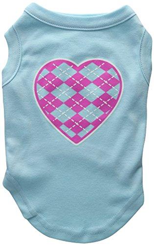 Mirage Pet Products Argyle Herz pink Screen Print-Shirt Aqua Med (12) - Aqua-herz Shirt