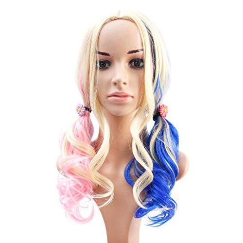 Aiyl parrucca,ondulata lunga blu e rosa con due coda di cavallo per le donne,parrucca, cosplay halloween, per donna