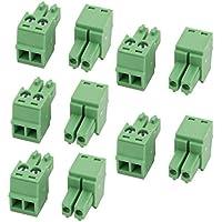 sourcingmap 10uds CA 300V 8A 2P del Bloque Borne Terminal de Conector de Cable de Paso de 3,5mm Montados en PCB