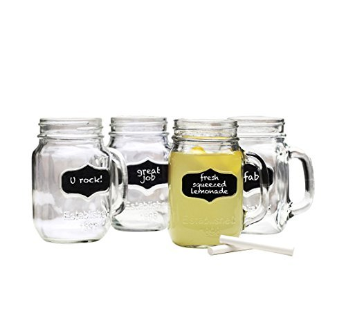Chalkboard Mason Jar Mugs with Chalk. 17.5 Oz. Each. Old Fashion Drinking Glasses -. By Lily's Home® by Lily's Home