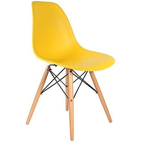 Promo Pack di 2x sedia Eames DSW Design ispirato, PP gambe in legno chiaro? MOBISTYL® mobi-dswl2 2 x Yellow