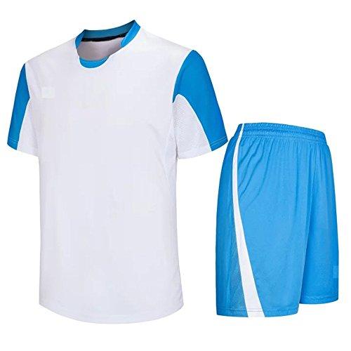 n Fußball Kleidung Kit Sportbekleidung Kurzarm Oberteile und Shorts Set Sport Training Wettbewerb Teamtrikots Kostüm, Weiß/30 (Herren Fußball Kostüme)