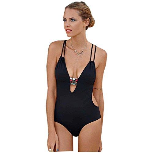 Bañadores Deportivas Mujer,Xinantime Una pieza vendaje del traje de baño (XXL, Negro)