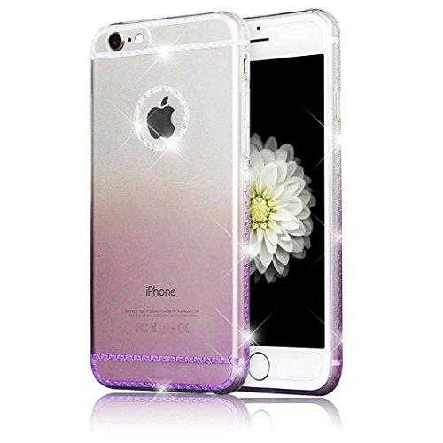 Sunroyal® iphone 6 plus 6S plus Cover, Bling Strass Transparent Custodia [Antiuroto] [Anti-Scratch] Ultra Slim (Viola Nuovo Pennino)