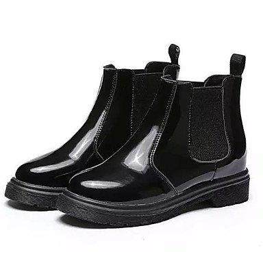 RTRY Scarpe Donna Pu Cadere Combattere Stivali Stivali Chunky Tallone Punta Tonda Babbucce/Stivaletti Di Abbigliamento Casual Black Nera Us8.5 / Eu39 / Uk6.5 / Cn40 US6.5-7 / EU37 / UK4.5-5 / CN37