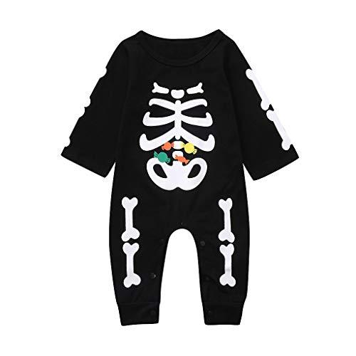 Lazzboy Säuglingsbaby Mädchen Halloween Karikatur Schädel Druck Spielanzug Overall Kleidung Baby Body Strampler Jungen Neugeborenen Nachtwäsche - Kopf Auf Einem Tisch Kostüm
