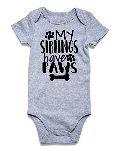RAISEVERN Sommer Baby Mädchen Kurzarm Strampler Lustige Worte Drucken Outfits Neugeborenen Bodys Overalls für 3-6Monat Grau