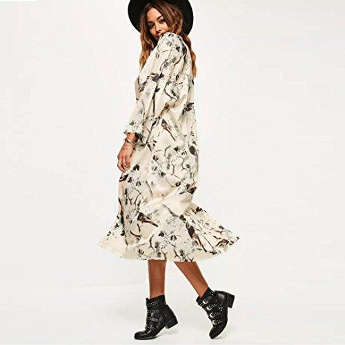 Malloom Femmes Mode Cardigan Kimono en mousseline de soie Grande taille Blouses à châles Beige