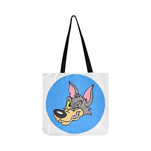 Cartoon Cute Wolf Leinwand Tote Handtasche Schultertasche Crossbody Taschen Geldbörsen Für Männer Und Frauen Einkaufstasche