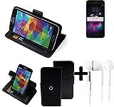 K-S-Trade® Top Set: 360° Funda Smartphone para LG Electronics K8+ (2018), Negro + Auriculares | Función De Stand Caso Monedero BookStyle Mejor Precio, Mejor Funcionamiento | Funda Universal Caso