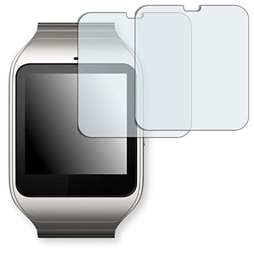 2x Golebo Semi-Matt protectores de pantalla para Sony SmartWatch 3 - (efecto antirreflectante, montaje muy fácil, removible sin residuos) (Intencionadamente es más pequeña que la pantalla ya que esta es curva)