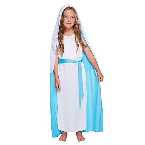 Christmas Shop Kinder Kostüm Maria (4-6 Jahre) (Weiß/Blau)
