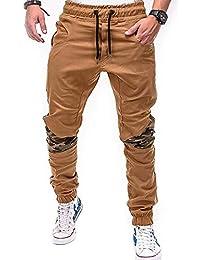 a3471d90ccdcc JiaMeng Hommes Pantalon Vetement Patchwork Cordon de Serrage Couleur de  Contraste Pantalons Pants Homme Pantalon Militaire