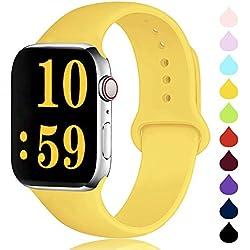 DCMEKA Compatible avec Watch Bracelet 38mm 42m 40mm 44mm, Bracelet de Sport en Silicone Remplacement Compatible la série 4, la série 3, la série 2 et la série 1 d'iWatch, S/M, M/L