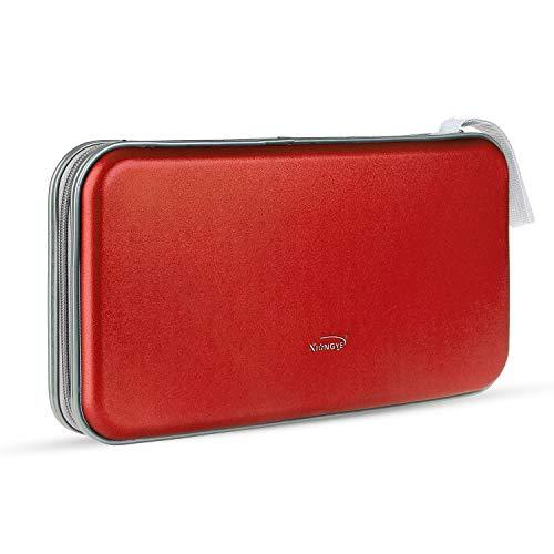 Leder Dvd-rack (CD-Hülle, tragbarer Kunststoff 80pcs Disc CD-DVD-Geldbörsen Aufbewahrungsbox Halter Tasche Hard Box Silber (Color : Red, Size : M))