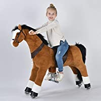 UFREE Action Pony, Large Mechanical Horse Toy, Ride on Bounce up and down and Move, Height 44