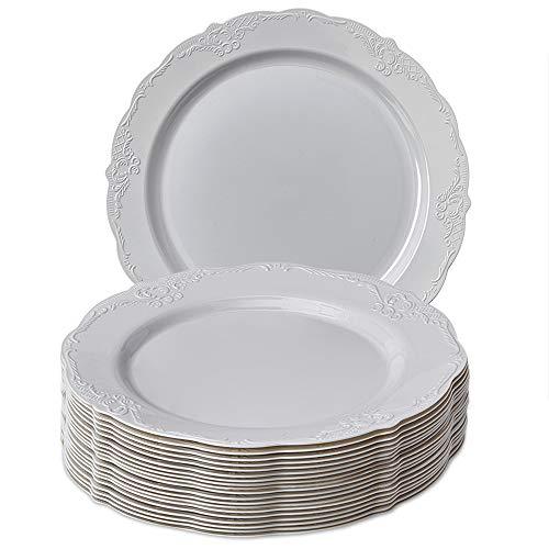 VAJILLA PARA FIESTAS DESECHABLE DE 20 PIEZAS | 20 platos grandes | Platos de plástico resistente | Elegante aspecto de porcelana fina | Para bodas y comidas de lujo (Vintage Collection - Gris (26 cm)