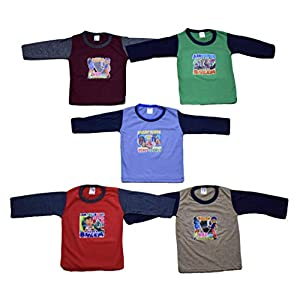 5 Full Sleeve Baby Tshirts – Colors May Slightly Vary