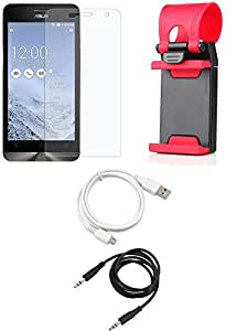 NIROSHA Tempered Glass Screen Guard Cover Case USB Cable Mobile Holder for ASUS Zenfone 5 - Combo