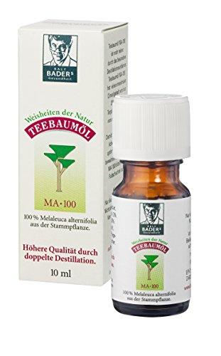 BADERs Apotheken Teebaumöl. Der Klassiker aus der Apotheke. 100% melaleuca alternifolia. Doppelt destilliert. 10 ml in der Lichtschutz-Faltschachtel.