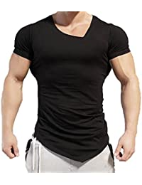 LuckyGirls Camisetas Hombre Originales Manga Corta Irregular Polos  Personalidad Casual Deporte Camisas Moda Slim Remera ( 3bc04de5655ae