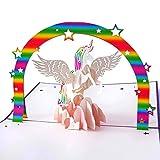 3D Geburtstagskarte, Einhorn mit Regenbogen auf rosa Wolke, Handgefertigte Klappkarte mit Umschlag, kreativ XXL-Pop-Up-Karte, Ideal für Geldgeschenke