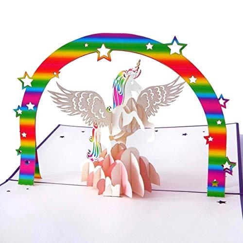 3D Geburtstagskarte, Einhorn mit Regenbogen auf rosa Wolke, Handgefertigte Klappkarte mit Umschlag,...
