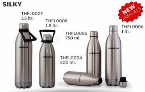 varmora seidig Heiß & Kalt Edelstahl Wasser Flasche thfl0004(1,8Ltr) (Backpulver Container)