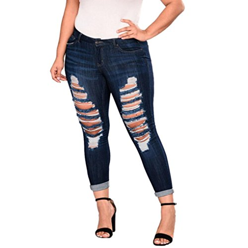 Hosen, Frashing Frauen Plus Size Zerrissene Stretch Schlank Denim Skinny Jeans Hosen Hohe Taille Hosen Knie Cut Dünne Lange Jeans Hosen Bleistifthose Stretch Skinny Distressed Hosen (2XL, Dunkelblau) (Plus Size Workout Hose)