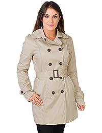 KRISP® Manteau Trench Coat Classique Femmes Cintré Avec Ceinture Style Vintage