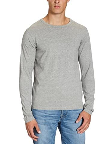 JACK & JONES Herren Langarmshirt 12059220 Basic O-Neck Tee, Gr. 48 (S), Grau (LIGHT GREY MELANGE)