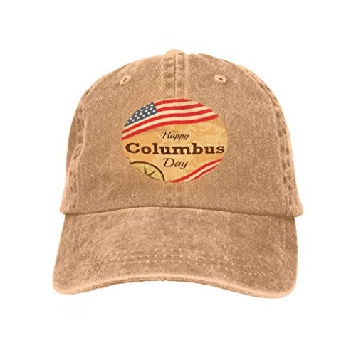 Unisex Trucker Style Hats Happy Columbus Day usa Flag map Background Happy Columbus da Sand Color ()