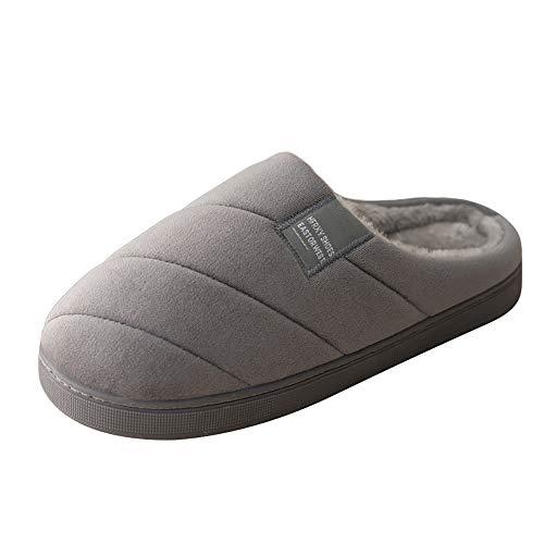 separation shoes 8df77 b819e Zapatillas de Interior Zapatos Invierno Algodon Casa Slippers Caliente Pantuflas  Felpa Antideslizantes Plataforma 2.5 cm Hombre Gris EU41 42