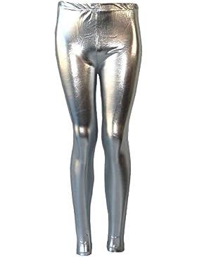 Nuevo niñas metálico aspecto mojado de Leggings Ladies Shiny Kids Disco del partido las mujeres pantalones