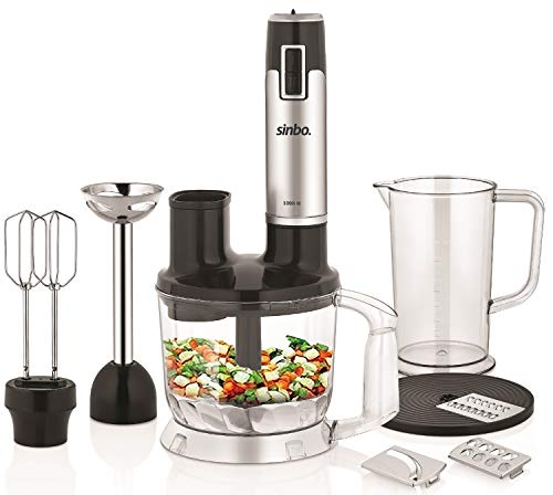 Universal Küchenmaschine | Stabmixer | Schneebesen | Zerkleinerer | 1000 Watt | Edelstahlmesser | 2 Leistungsstufen | Stabmixeraufsatz | Klingenaufsatz | Reibescheibe | Rührbesenaufsatz |